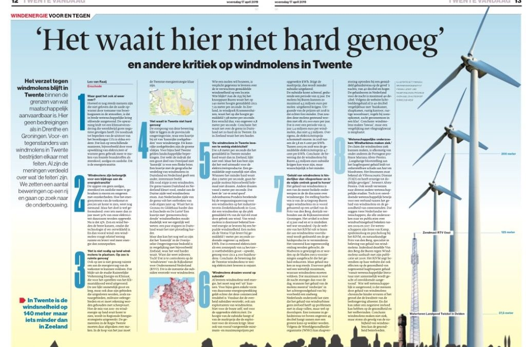 'Het waait hier niet hard genoeg' en andere kritiek op windmolens in Twente